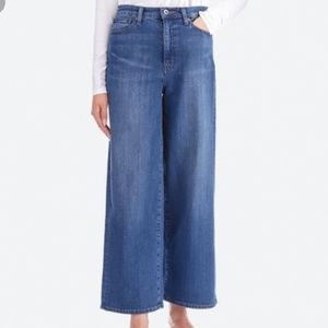 EUC Uniqlo Wide Leg Jeans High Waisted Raw Hem XS